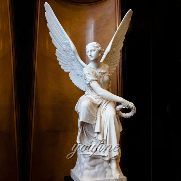 Статуя ангела хранителя из натурального мрамора