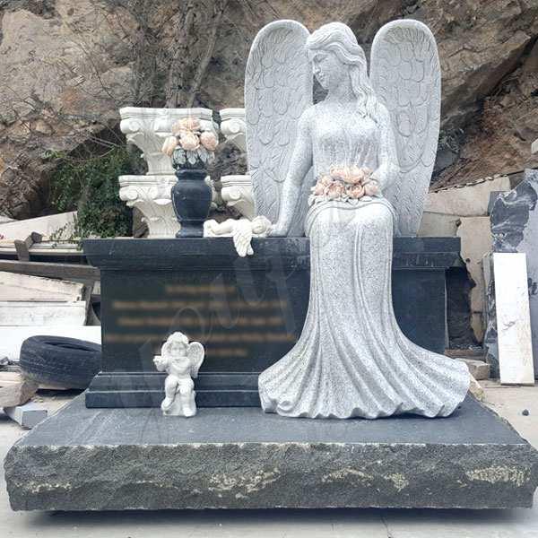 Горячий дизайн черный гранит надгробный камень со статуей ангела плача MOKK-111
