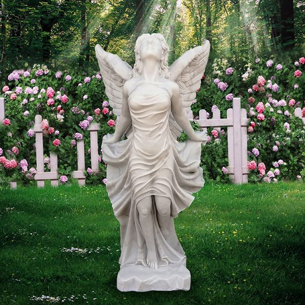 ручной работы белого мрамора ангел статую за открытый сад украшения для продажи yfwy-02