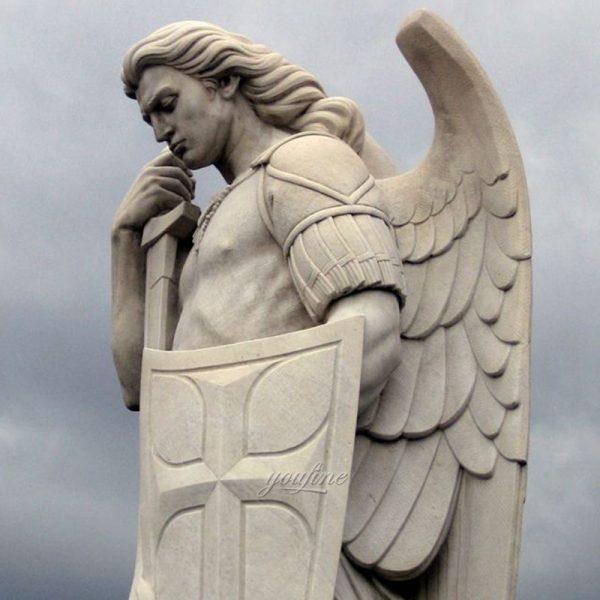 Известный открытый гигантский белый мрамор Святого Михаила Скульптура для продажи МОКК-296-2 (2)