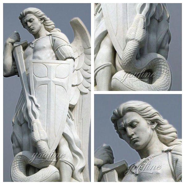 Известный открытый гигантский белый мрамор Святого Михаила Скульптура для продажи МОКК-296-2 (1)