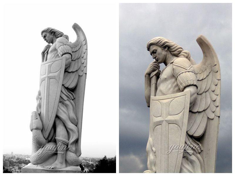 Известный открытый гигантский белый мрамор Святого Михаила Скульптура для продажи МОКК-296-2 (4)