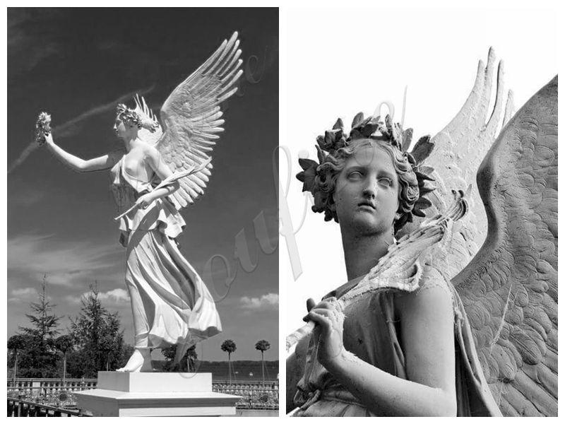 Украшение на открытом воздухе стоящий мраморный ангел с лавровой короной скульптура для продажи MOKK-264