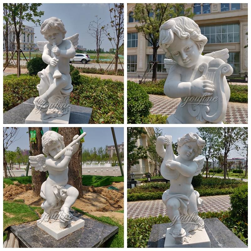 В натуральную величину маленькие мраморные статуи ангела открытый ручной работы сорта хунань белого для продажи -MOKK-228