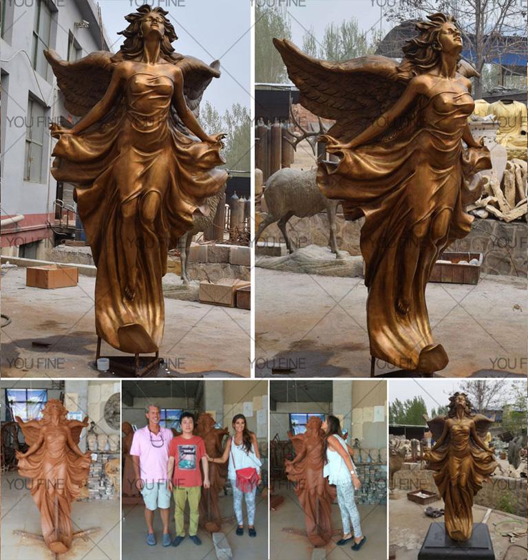 Бронзовая скульптура ангела в натуральную величину летающий ангел бронзовая скульптура БОКК-160