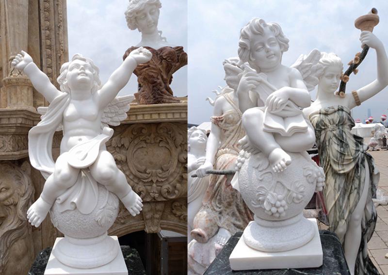 Что касается скульптуры мраморного ангела, это всегда была популярная скульптура персонажа. Эта скульптура очень милая. В общем, мы выберем лучший сычуаньский белый мрамор или белый мрамор Хунань. Эффект очень плавный, очень нежный, выглядит очень блестящим, гладким, как нефрит, и выглядит особенно комфортно.  Мраморную скульптуру ангела также можно разделить на множество видов. У нас есть универсальный дующий и поющий злодей, а также милый ангел, спящий на крыльях. Похоже на малыша у новорожденного, сидящего на ноге. Две руки открываются, чтобы взглянуть на небо и на заботу о теленке, всевозможные позы, особенно милые.  Иногда эти маленькие скульптуры ангелов не отличаются от новорожденных детей. В этом возрасте дети беззаботны и невинны. У них нет такого большого беспокойства, и они не участвуют в мире после того, как вырастут, поэтому их глаза всегда полны надежды, сияющей той искренностью и чистотой, которых у нас нет.  Для скульптуры маленького ангела мы часто делаем размеры 60 см в высоту и 80 см в высоту. Наш размер относительно свободен, потому что мы фабрика, которая поддерживает настройку. Пока клиенту это нравится, мы можем делать один и тот же эффект в соответствии с одной картинкой. Даже если заказчик привносит свой собственный дизайн или хочет добавить что-то новое, это не имеет значения, мы сделаем все возможное, чтобы удовлетворить потребности наших клиентов.  Наша фабрика имеет богатый опыт в гравировке персонажей. У нас есть собственные рабочие группы и команды разработчиков, а также специальная команда продаж. За последние несколько лет наша команда росла шаг за шагом, а наш опыт постепенно обогащался. Для наших скульпторов каждый скульптор имеет не менее 20 лет опыта лепки, поэтому мы можем вырезать выражения каждого персонажа в область выразительности.