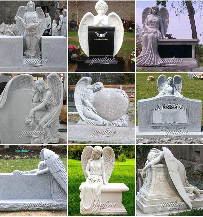 Высокое качество красивый мраморный ангел памятник памятник надгробие поставщик MOKK-559